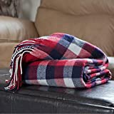 Lavish Home Throw Blanket, Cashmere-Like, Red/Blue/White