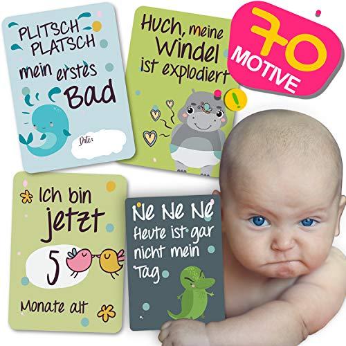 JANEYO - Meilensteinkarten für Ihr Baby - 70 Meilenstein Motive, inklusive Wochen-, Monats-Karten und lustigen Karten - Fotokarten für die ersten 18 Lebensmonate