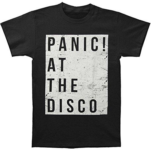 Panic at the Disco Camiseta masculina Rough Square Slim Fit preta, Preto, P