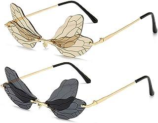 نظارات شمسية بتصميم اليعسوب الجناح للنساء / الرجال بدون إطار نظارات غير نظامية نظارات شمسية للحفلات