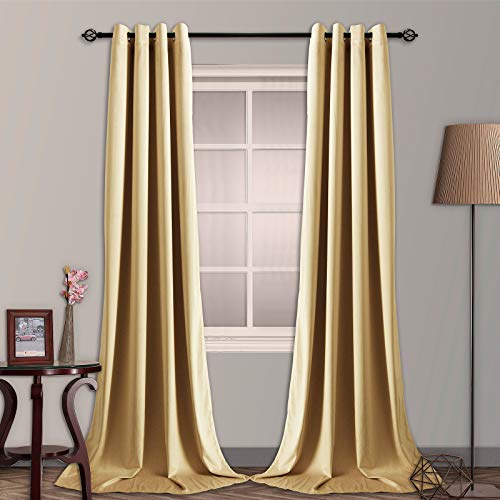 SNITIE Cream Yellow Velvet Blackout Curtains with Grommet, Super Soft Thermal Insualted Noise Reducing Thick Velvet Drapes for Living Room and Bedroom, Set of 2 Panels, 52 x 96 Inch Long