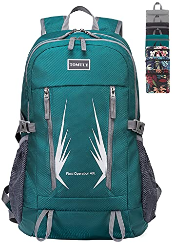 TOMULE 40L Camping Hiking Daypacks, Waterproof Packable Casual Travel Backpack(Green)