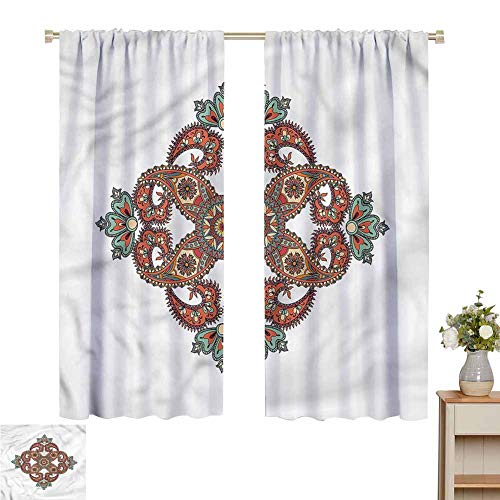 Wear Pole Curtains Window Decoration Curtain Colorful Circles Ornaments Energy Saving Set of 2 Panels W55 x L72