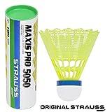 Strauss Maxis Pro Nylon Shuttlecock, Pack of 6 (Yellow)