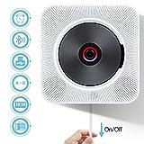 Lettore CD Portatile Qomolo Lettore CD Montabile a Parete Altoparlante Hi-Fi Integrato Bluetooth con Telecomando Radio FM Ingresso USB 3,5 mm Cuffie Schermo a LED