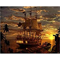 45x55 cm-5D DIY diamond embroidery Pirates Ship Boat diamond painting Cross Stitch mosaic home decoration