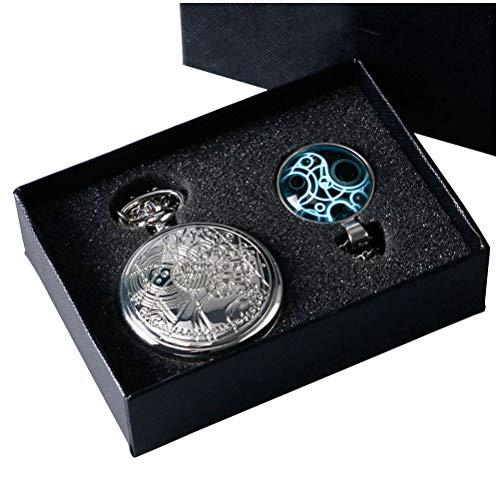 Preisvergleich Produktbild yisuya® Retro Doctor Who Silber Taschenuhr mit Silber Halskette Kette + Anhänger + Geschenk-Box