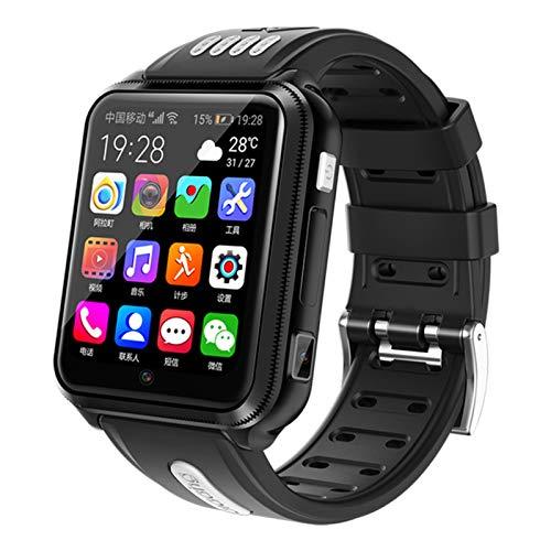 HQPCAHL Reloj Inteligente 4G para niños, Reloj Inteligente Impermeable para niños para iOS Android con Tarjeta SIM y Tarjeta TF cámara Dual WiFi GPS rastreador Reloj Android SmartWatch,Negro