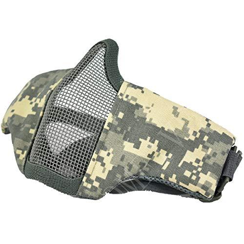 QMFIVE Tactical Maske, Stahl Halbmaske und verstellbare elastische Band Faltbare Half Face Maske Schutzmaske Maske für Airsoft Paintball CS(ACU)