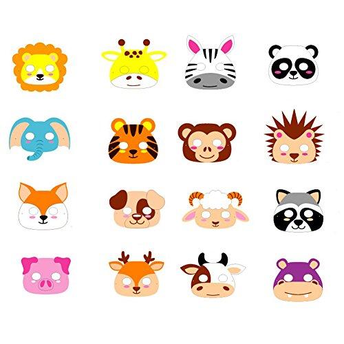 ED-Lumos Máscaras para niños Forma Animal Material Goma Eva 16 Piezas para...