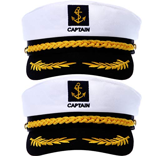 SATINIOR 2 Pieces Navy Marine Admiral Style Hat Adjustable Ship Sailor Cap Yacht Boat Captain Hat for Men Women Costume Favor