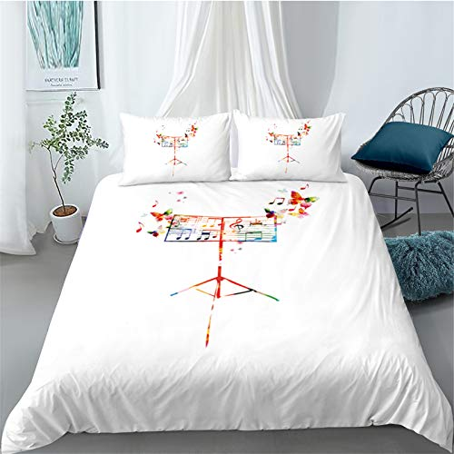 YYSZM Quilt Cover Home Textile 3D Digitaldruck Farbe Musik Note Mikrofaserstoff...