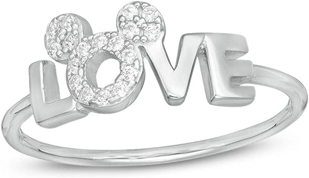 Dividiamonds オンライン限定商品 Round Cut Clear CZ Diamond Ring Mickey Mouse