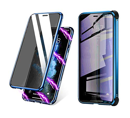 BVCY Magnetic Adsorption Case for iPhone 7 iPhone 8 with Built-in Anti-Spy Privacy Screen Protector Anti-Peeping Case (Blue)