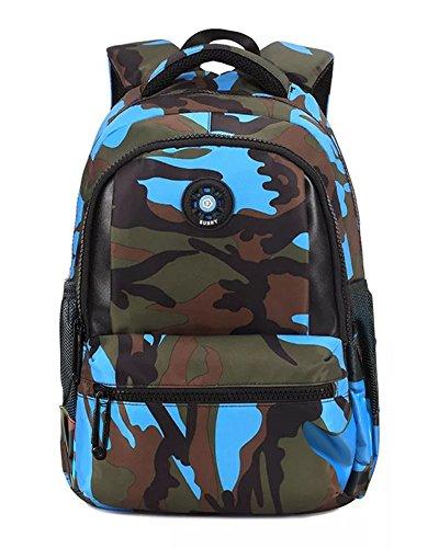 FNTSIC Camouflage Schultaschen Kinderrucksack Große Kapazität Leichte Schultertasche für Teenager Jungen & Mädchen Mehrfarbig (Camo blau)
