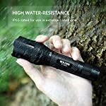 Anker Rechargeable Bolder LC90 LED Flashlight, Pocket-Sized Torch with Super Bright 900 Lumens CREE LED, IPX5 Water… 11 SUPER-BRIGHT: 900-lumen (max) Cree LED sweeps bright light over the length of about two football fields (660 ft / 200 m) and reaches nearly 1000 ft. Fully zoomable from wide to narrow beam. Features 5 adaptable settings: High / Medium / Low / Strobe / SOS. LONG-LASTING: Up to 6 hours (Medium-beam mode) of powerful, non-diminishing brightness from the included premium rechargeable 3350mAh battery. LEDs boast an extended 50000-hour lifespan. Recharge in just 6 hours with a 1A adapter (not included) and the included Micro USB cable. TOUGH & RELIABLE: IPX5-rated water resistant and designed for use in heavy rain. Its durable aluminum body and shock-resistance endure rough handling.