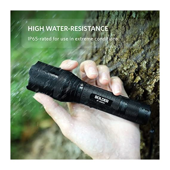 Anker Rechargeable Bolder LC90 LED Flashlight, Pocket-Sized Torch with Super Bright 900 Lumens CREE LED, IPX5 Water-Resistant, Zoomable, 5 Light Modes, 18650 Battery Included 4 SUPER-BRIGHT: 900-lumen (max) Cree LED sweeps bright light over the length of about two football fields (660 ft / 200 m) and reaches nearly 1000 ft. Fully zoomable from wide to narrow beam. Features 5 adaptable settings: High / Medium / Low / Strobe / SOS. LONG-LASTING: Up to 6 hours (Medium-beam mode) of powerful, non-diminishing brightness from the included premium rechargeable 3350mAh battery. LEDs boast an extended 50000-hour lifespan. Recharge in just 6 hours with a 1A adapter (not included) and the included Micro USB cable. TOUGH & RELIABLE: IPX5-rated water resistant and designed for use in heavy rain. Its durable aluminum body and shock-resistance endure rough handling.