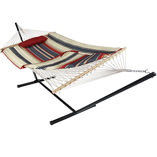 Sunnydaze Cotton Rope Freestanding Hammock with 12 Foot Portable Steel Stand and Spreader Bar, Pad and Pillow Included, Modern Lines