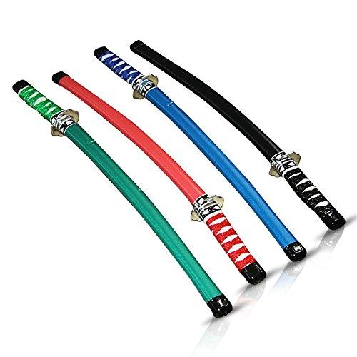 Nerd Clear 6 x Samurai Schwert, 60 cm, Ninja Säbel, Kostüm, Fasching, Karneval