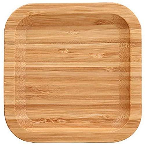 WBDZ Home Plato de Madera para Servir, Bandeja Rectangular Redonda para Comer, Bandeja de Desayuno, Bandeja de Fibra de bambú, vajilla, Bebida Cuadrada, 13x13x1,6 cm
