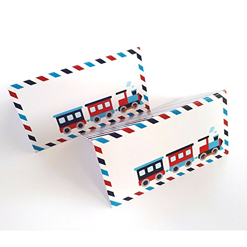 All Aboard Train Place Tent Cards - Boy Birthday Baby Shower Locomotive Party Supplies - Set of 12