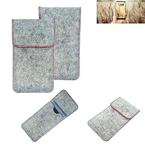 K-S-Trade® Handy Schutz Hülle Für Allview X4 Soul Infinity N Schutzhülle Handyhülle Filztasche Pouch Tasche Hülle Sleeve Filzhülle Hellgrau Roter Rand