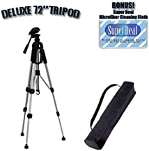 PROFESSIONAL 72 Inch Full Size Tripod with Carrying Case For The Canon DC230, DC220, DC210, DC100, DC50, DC40, DC22, DC20, DC10 DVD Camcorders with Exclusive FREE Complimentary Super Deal Micro Fiber Lens Cleaning Cloth