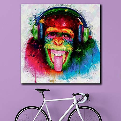 wojinbao Pop Art DJ Monkey Wandkunst Leinwand abstrakt Leinwand Künstler Wohnkultur 50x50cmKein Rahmen