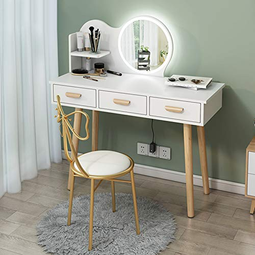 Vanity Table Set with LED Lights Mirror, Dressing Table with Drawers and Open Shelf, Makeup Table Vanity with Stool for Girl, Women, Bathroom, Bedroom, White