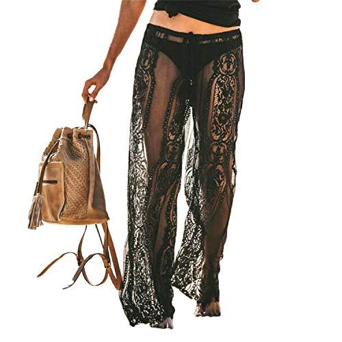 Damen Durchsichtig Hose Strandhose Sommer Beach Bikini Cover Up Sexy Spitzenhose Bademode Loose Weites Bein Lange Hose Freizeithose (Schwarz, M)