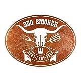 Rerum & Consilium Schild BBQ Smoker in Edelrost-Optik I Made in Germany I groß I 56 x 40 cm I 1065 g I Stahl