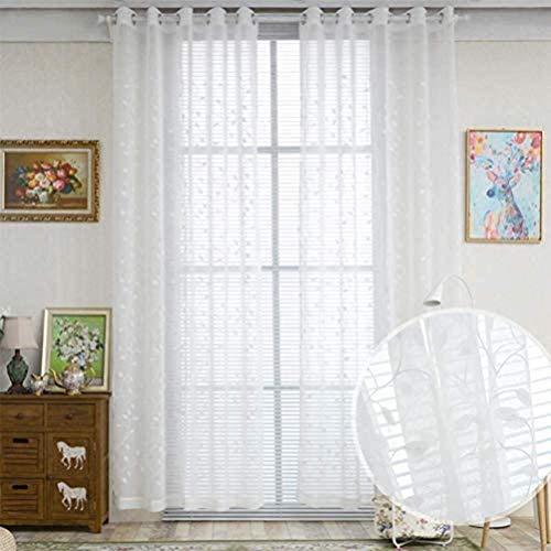 HHJJ Cortina de gasa transparente para sala de estar, dormitorio, dormitorio y ojales para bordado a mano monocapa blanco floral -67124N9L5P (color: blanco, tamaño: 350 x 280)