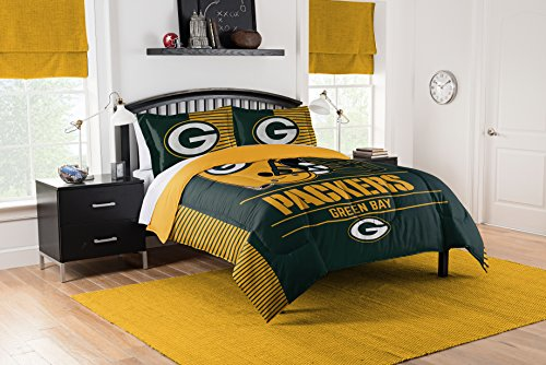 Officially Licensed NFL Green Bay Packers'Draft' Full/Queen Comforter and 2 Sham Set, 86' x 86'