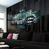 45Tdfc Cuadro En Lienzo 5 Piezas Pintura Muscle Car Rivalry Super Car Rojo Blanco Y Negro Moderno Fotos Material Te Jido No Tejido Arte Pared DecoracióN HogareñA ImpresióN