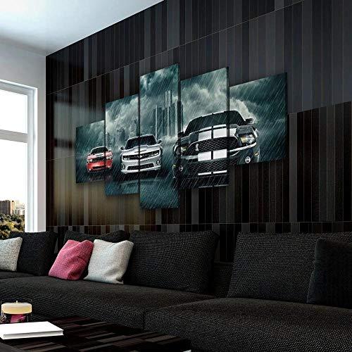45Tdfc Cuadro En Lienzo 5 Piezas Muscle Car Rivalry Super Car Rojo Blanco Y Negro Dormitorio Arte Cartel Pared DecoracióN del Hogar Cuadro Pintura para Sala Estar Listo para Marco