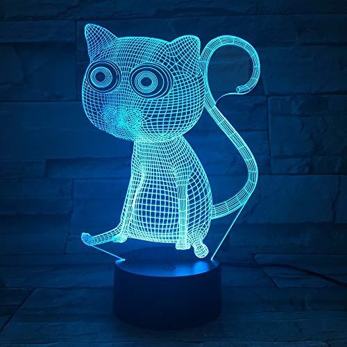 Jiushixw 3D acryl nachtlampje met afstandsbediening van kleur veranderende tafellamp veranderen katten op tafel van de slaapkamer party nieuwjaar geschenk glasplaat lichttafel