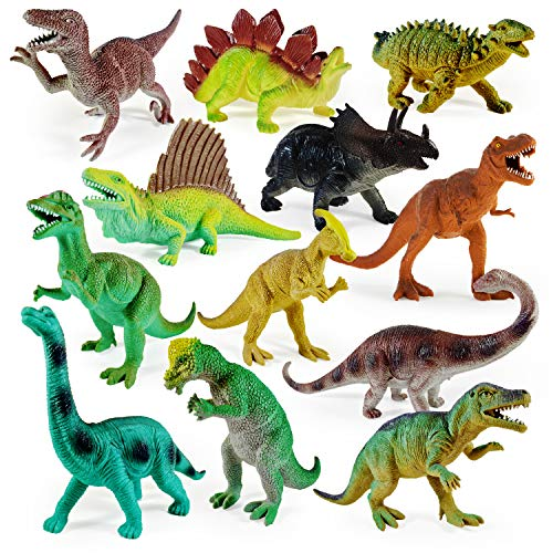 Boley 12 Pack 9-Inch Educational Dinosaur Toys - Kids Realistic Toy Dinosaur Figures for Cool Kids and Toddler Education! (T-Rex, Triceratops, Velociraptor, and More!)