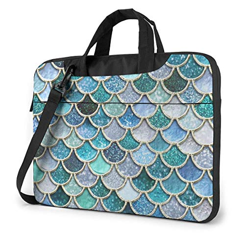 Laptop Bag, Blue Green Fish Scales Multi-Functional Laptop Sleeve Case with Strap and Handle for 13-15.6in Laptop