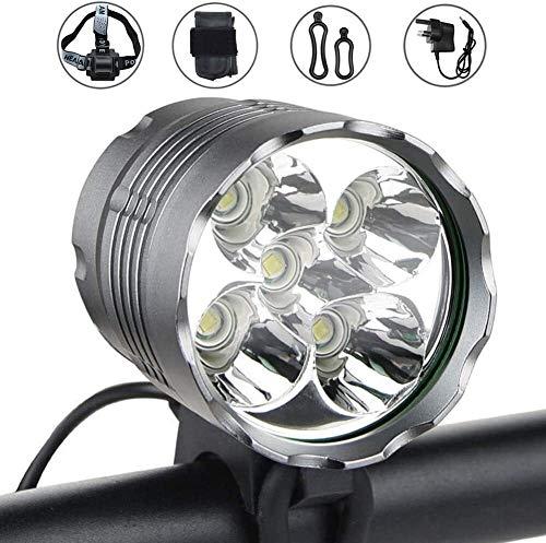 FANPING Fahrradbeleuchtung, 6000 Lumen 5 LED-Fahrrad-Licht, wasserdichte Mountainbike Frontleuchte mit Akku, 3 Modi Fahrradbeleuchtung Frontscheinwerfer for Radfahren Sicherheit