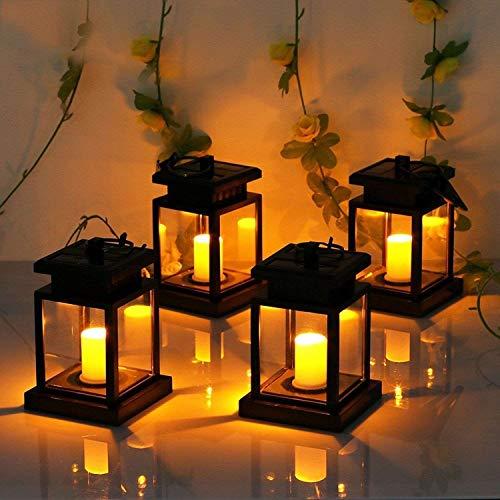 Lumière solaire accrochante de LED, lampe de cour en plastique de cour de lumière de flamme extérieure imperméable extérieure de lumière de bougie de jardin de mariage de mariage de partie,4pc