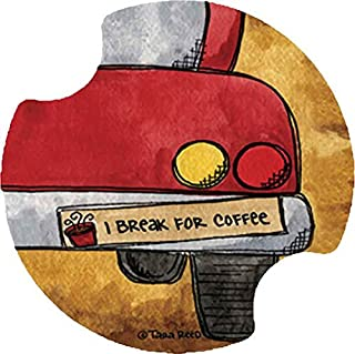 Thirstystone I Break for Coffee Car Cup Holder Coaster, 2-Pack