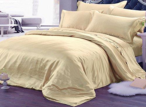 Parure de lit 4 pièces en pure soie - 22 mm d'épaisseur - Sans couture - Super king - Jaune