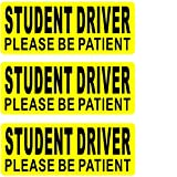 Rockmount Electronics (3 Pack) 9' x 3.5' Student Driver Please BE Patient Vehicle Car Window Bumper Safety Warning Alert Sticker Decals - Back Self Adhesive Vinyl