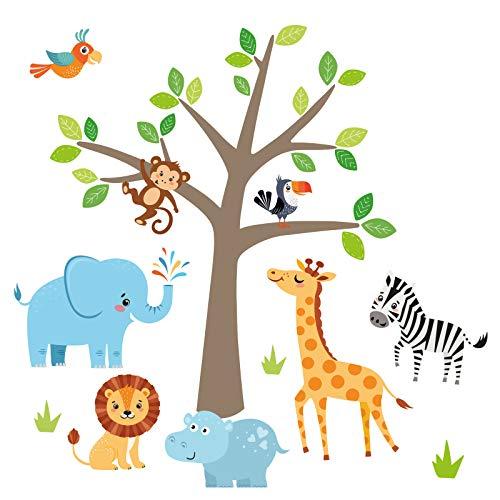 Little Deco Wandaufkleber Safari Dschungeltiere & Baum I Baumgröße 38 x 45 cm (BxH) I Elefant Giraffe Sticker Löwe Wandtattoo Kinderzimmer Deko Babyzimmer DL524
