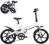 MQJ Bicicleta Eléctrica Plegable de Ebikes, 36V 250W 7.8Ah Batería de Litio Aleación de Aluminio Límite de Aleación E-Bicicletas, 3 Modos de Trabajo, Frenos de Disco Delantero Y Trasero,Blanco,1