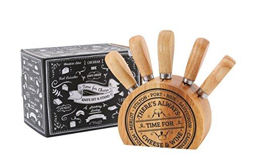 Bellissimo set di 5 coltelli da formaggio per la copertura di tutti i formaggi. Elegante blocco in legno, con dettagli in rilievo, colore: nero Ottima idea regalo per un foodie Dimensioni: 8,5 cm x 11 cm x 6 cm Simply super