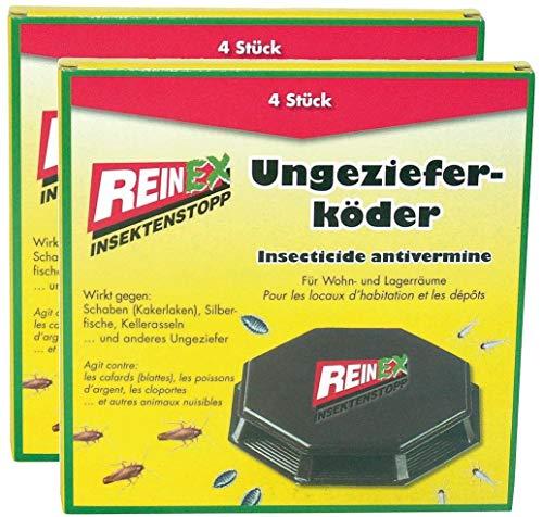 REINEX 8er Pack (2x4) Ungezieferdose Köderdose Ungeziefergift Kakerlaken Silberfisch