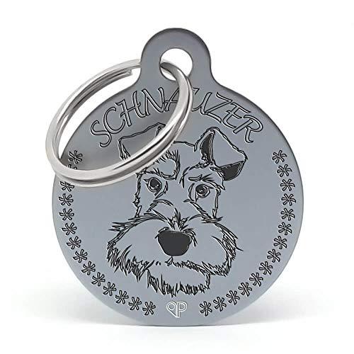 PERDIDUS Placa Identificativa para Perro 'Schnauzer' Personalizada. Grabado del Nombre y Teléfonos.