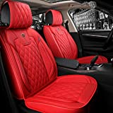 ZFL01 Luxury PU Leather Car Seat Covers Front & Rear Seat Protector Fit Sedan & SUV 5 Seats Full Set Universal Fit (Red)