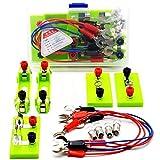 SJUNJIE Circuito Eléctrico Kit Ciencias Laboratorio de Física Kit Aprendizaje Básico de Circuitos Experimento de Electricidad Bombilla Interruptor Conductor Línea